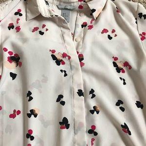 H&M Light Pink Watercolor Blouse Size 2